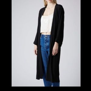 Topshop Black Longline kimono duster sz 10